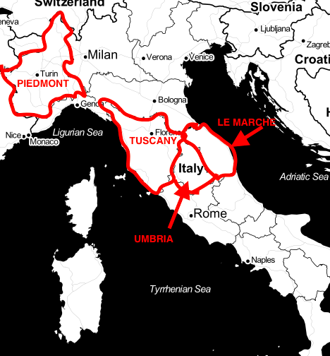 Map of the Best Regions in Italy to Find Truffles