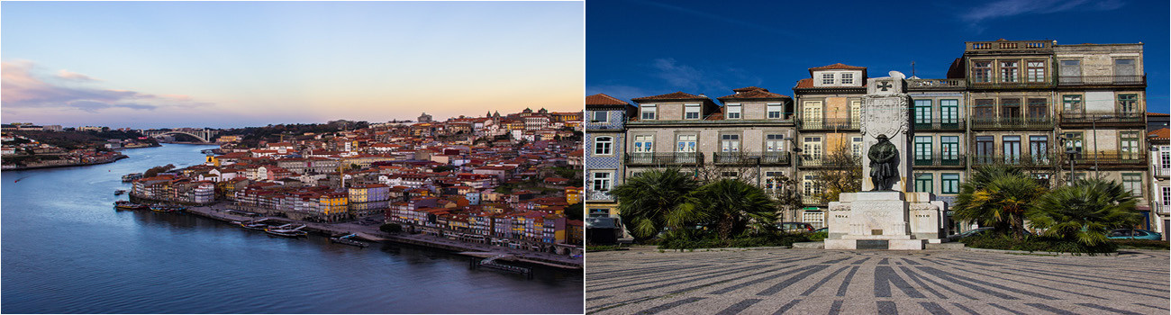 Porto-Portugal-View-From-Dom-Luis-Bridge-and-Praca-de-Carlos-Alberto-2Panels-Itinerary