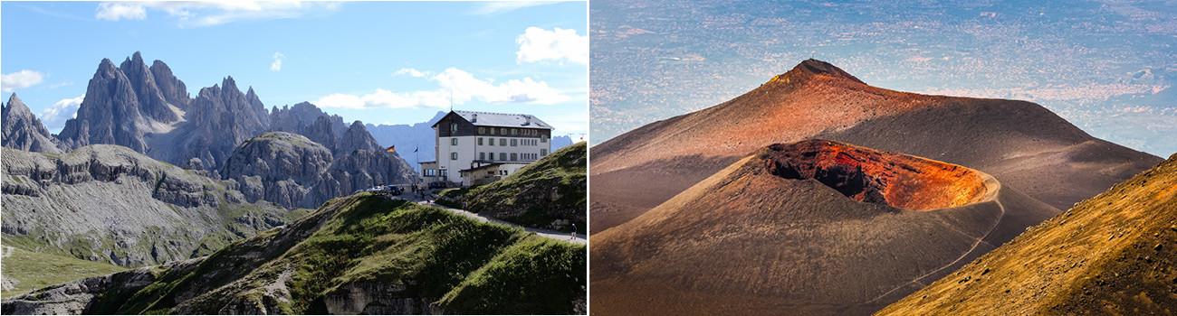 Tre-Cime-di-Lavaredo-Dolomites-and-Etna-Volcano-Crater-Sicily-Italy-Itinerary-2Panel