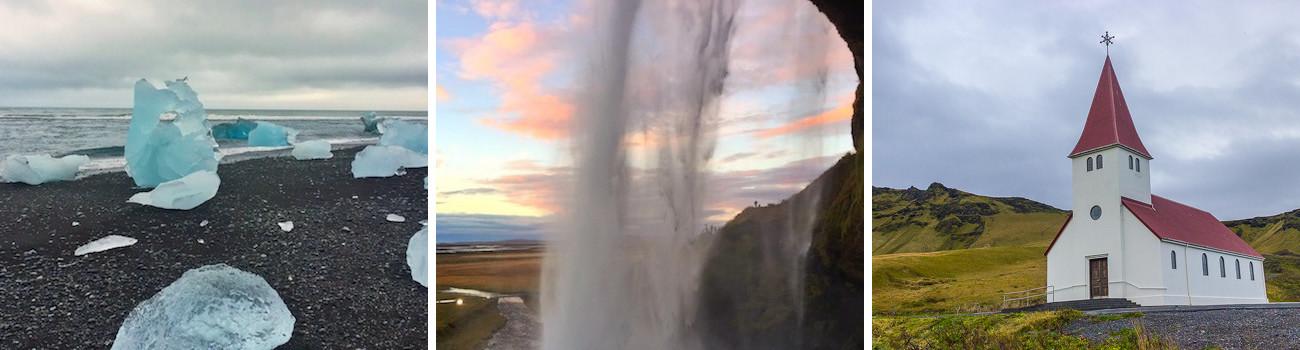 Diamond-Beach-South-Coast-Seljalandsfoss-Waterfall-Vik-Church-South-East-Coast--of-Iceland-3Panel-Itinerary