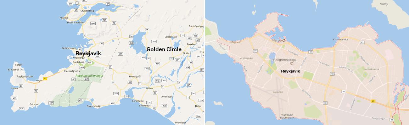Reykjavik-Neighborhood-Map-and-Reykjavik-and-Golden-Circle-2Panel-Itinerary