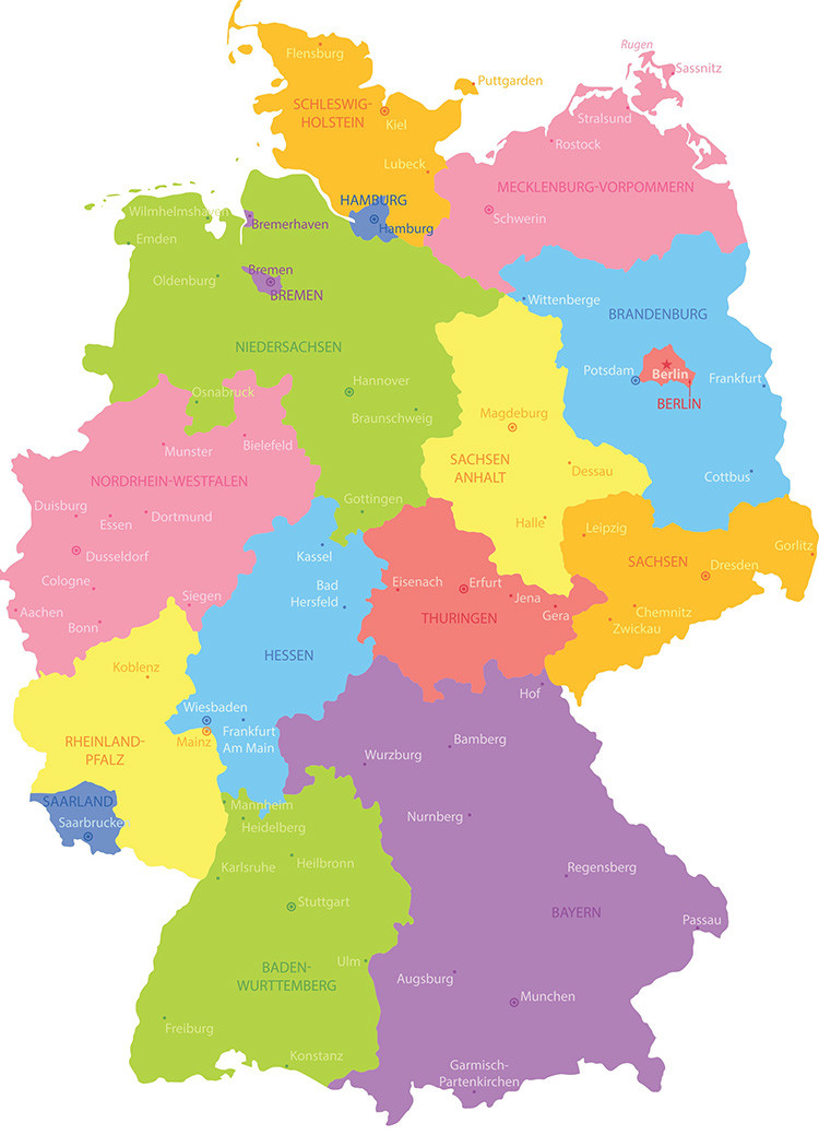 Germany travel honey regional map germany sciox Image collections