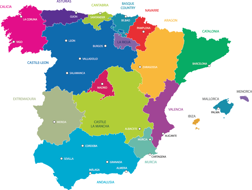 SPAIN Travel Honey - Spain regions map