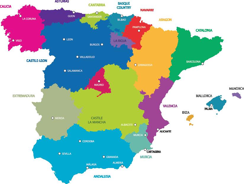 Regional Map Of Spain.Spain Travel Honey